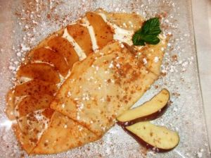 yogourt and apple crepe