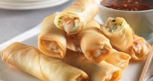 Spring rolls with mozzarella and crab