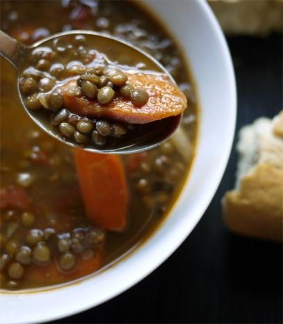 Soups. Lentil soup