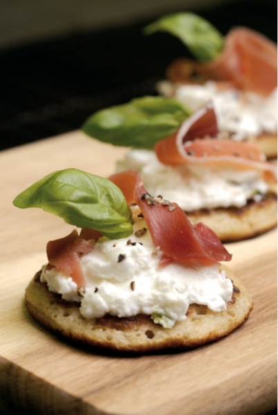 5. Blinis with fresh goat cheese & ham
