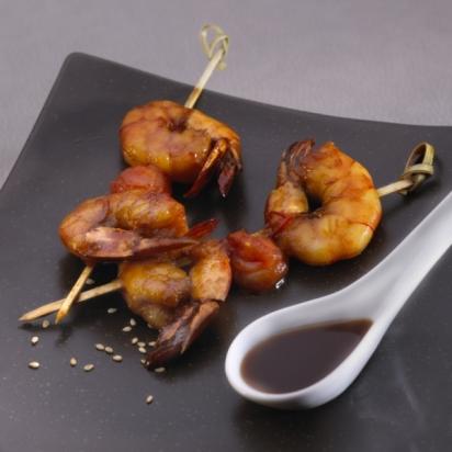 9. Shrimp skewers and soy caramel